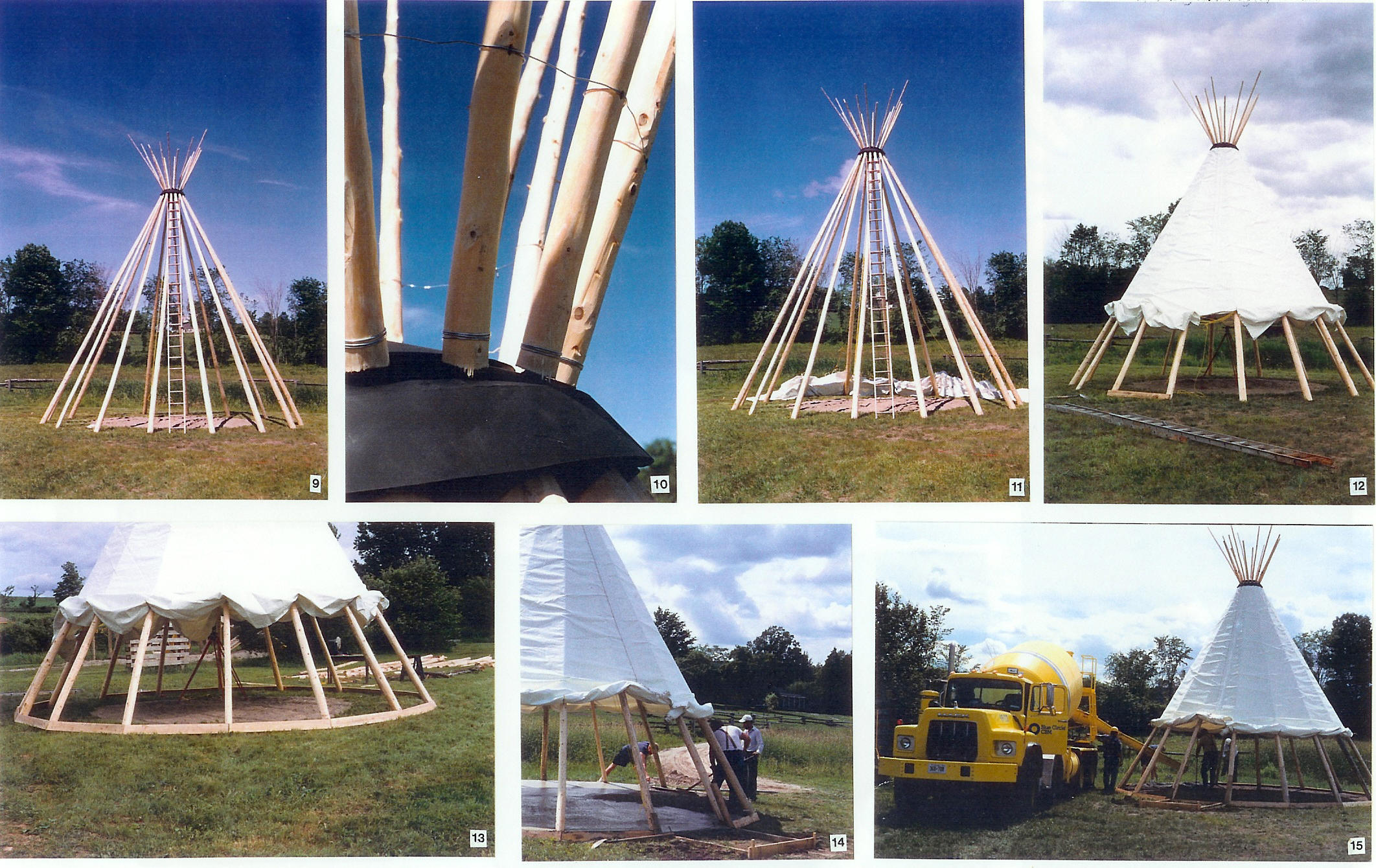 Pictures of the tipi construction process click on picture to enlarge